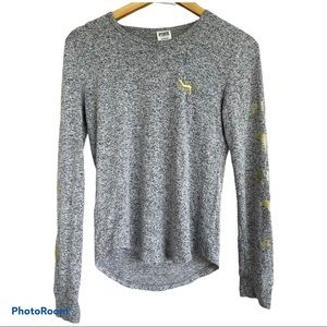 PINK VICTORIA'S SECRET grey sleepwear pajama top